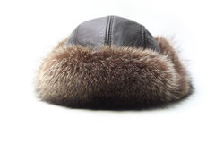 Hat. Mink fur hat on a white background Royalty Free Stock Photo