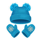 Hat and Mitten Set Winter Accessories. Vector Stock Image