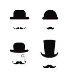 Hat and Moustache icon set Stock Photo