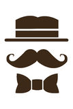 Hat mustache and bowtie icon. Simple flat design hat mustache and bowtie icon illustration royalty free stock photos