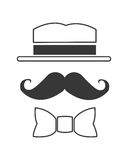 Hat mustache and bowtie icon. Simple flat design hat mustache and bowtie icon illustration royalty free stock image