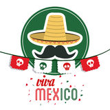 Hat and mustache icon. Mexico culture. Vector graphic. Mexico culture concept represented by hat with mustache icon. Colorfull and flat illustration stock photos