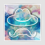Hat with mustache on a multicolored abstract geometrical backgro Royalty Free Stock Photo