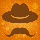 Hat with mustache on an orange background Royalty Free Stock Photography