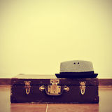 Hat and old suitcase Royalty Free Stock Photography
