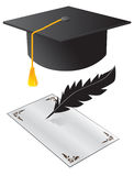 Hat and a paper on graduation Royalty Free Stock Images