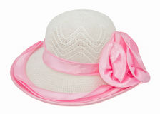 Hat with pink ribbon isolated Stock Photos