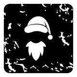 Hat with pompom and beard of Santa Claus icon. Grunge illustration of hat with pompom and beard of Santa Claus vector icon for web Royalty Free Stock Photo