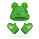 Hat with a Pompom and Mitten Set. Vector. Green Hat with a Pompom and Mitten Set Warm Clothing for Cold. Vector illustration Royalty Free Stock Photo