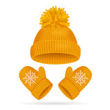 Hat with a Pompom and Mitten Set. Vector Stock Images