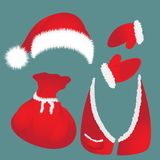 Hat with pompon, bag, waistcoat, Santa Claus gloves. Royalty Free Stock Photos