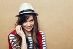 hat portrait wearing woman young Στοκ Εικόνα