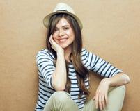 hat portrait wearing woman young Στοκ Φωτογραφία