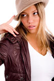 hat portrait wearing woman young Στοκ εικόνα με δικαίωμα ελεύθερης χρήσης