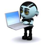 hat Punk-goth 3d einen neuen Laptop Stockfotografie