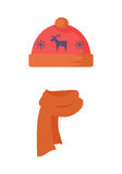 Hat. Red Headwear with Blue Deer and Snowflakes Stock Photo