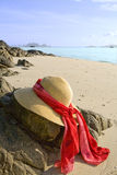 Hat on the rocks at the beach. A sun hat with red scarf on the rocks at the beach. Copy space Stock Photo
