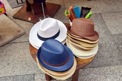 Hat for sale. Men`s hats for sale, part of a series Stock Photo