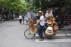 Hat salesman in Hanoi Royalty Free Stock Photos