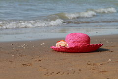 Hat sand and  sea Royalty Free Stock Image