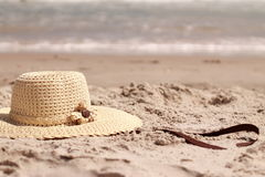 Hat on the sand Royalty Free Stock Images
