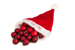 Hat santa with baubles Stock Photo