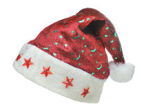 Hat Santa with ornament night sky. It is isolated on a white background Royalty Free Stock Image