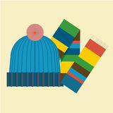 Hat and scarf. Picture of hat and scarf Royalty Free Stock Photography