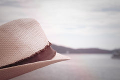 Hat And Sea Side View In Vintage Style stock images