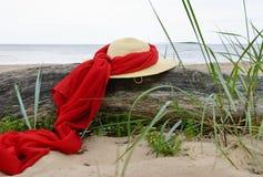 Hat  on seacoast Stock Image