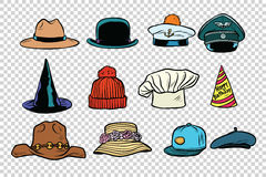 Hat set collection on  background Royalty Free Stock Image