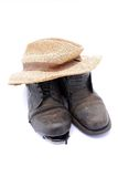 Hat and shoes Stock Images