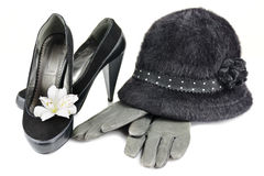 Hat and shoes with heels Royalty Free Stock Image