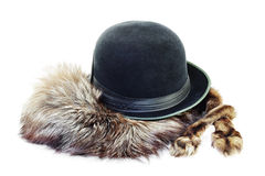 Hat on a silver fox fur Stock Photography
