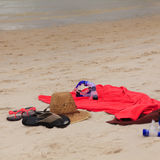 Hat, slippers and snorkel Royalty Free Stock Image