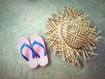 Hat slippers summer vintage background Stock Photo