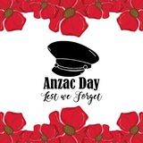 Hat soldier to anzac day war. Vector illustration Stock Photo
