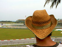 Hat on Spectator. Motor Racing Event royalty free stock photo
