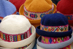 Hat Stall. A Close Up of Traditional Peruvian Hats on a Market Stall Stock Photos