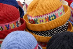 Hat Stall. A Close Up of Traditional Peruvian Hats on a Market Stall Royalty Free Stock Photography