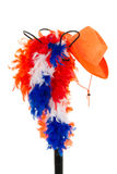 Hat stand with Dutch supporters' attributes Stock Image