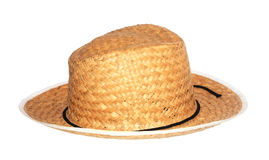Hat straw. White background. Personal Accessory, Nobody, Wicker Royalty Free Stock Photography