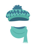 Hat. Stylish Warm Winter Headwear with Many Waves. Hat. Modern warm blue-green hat and long scarf. Contemporary headwear t with many colourful waves. Soft bright vector illustration