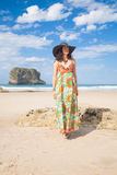 Hat stylish woman at beach Royalty Free Stock Image