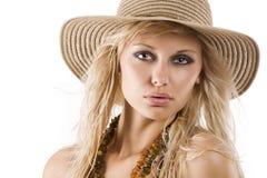 Hat summer portrait Stock Image