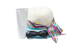 Hat , sunglasses and body lotion Stock Photo