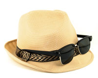 Hat and sunglasses. Isolated on a white background Stock Photography