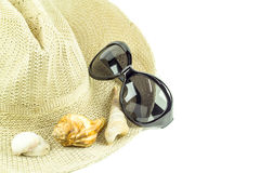 Hat and sunglasses isolated on white background Royalty Free Stock Photography