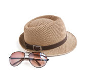 Hat and sunglasses Stock Images