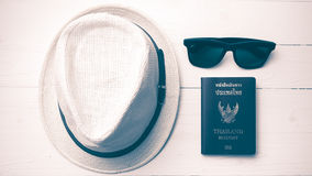 Hat sunglasses and passport vintage style Royalty Free Stock Photos